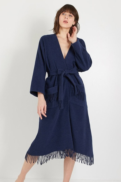 Long Woven Wool Mix Poncho Style Robe with Fringing - Chalk, Grey Melange, Blue Melange, Black