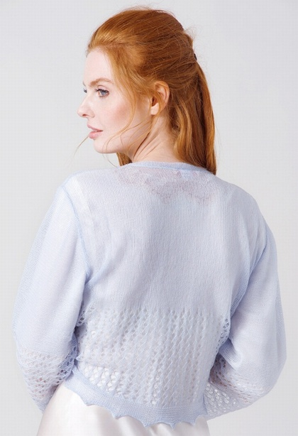 PALE BLUE Cashmere and cotton Ballet Wrap Bed Jacket