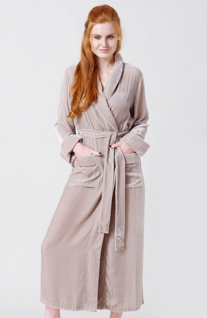 Ladies Camel Silk Mix Velour Dressing Gown - NOW 15% OFF - Large ONLY