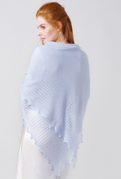 PALE BLUE Lacy Knitted Cashmere and Cotton Shawl
