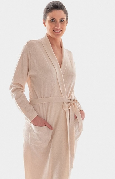 Cashmere and Wool Knit Long Kimono Robe in Cinnamon or Cream