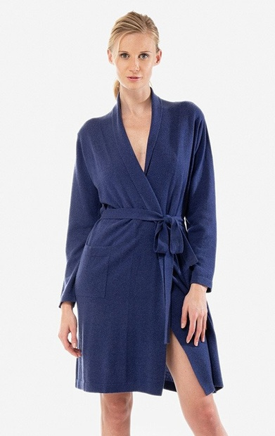 Short Cashmere and Wool Knit Dressing Gown in Cream,  Ink Blue, Porcelain or Grey