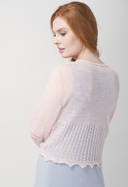 Blush Pink Wool Double Knitted Ballet Wrap Bedjacket