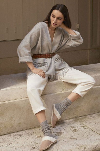 Short Woven Wool Mix Poncho in Many Colours with Fringed Hem...