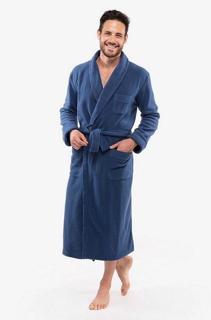 Men\'s Long Fleece Dressing Gown in Wine or Navy Blue £235.00 ...