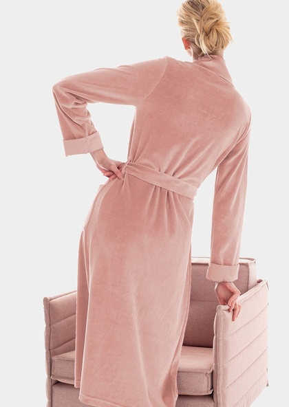 Ultra-Smart Soft Cotton Mix Velour Robe with Satin Detail in Pink Granite