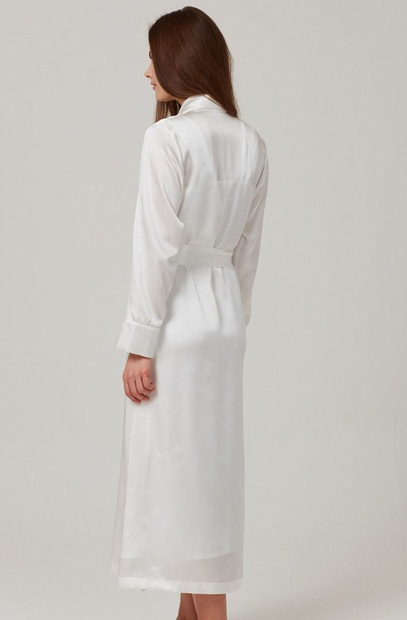 Ivory Pure Silk Long Robe