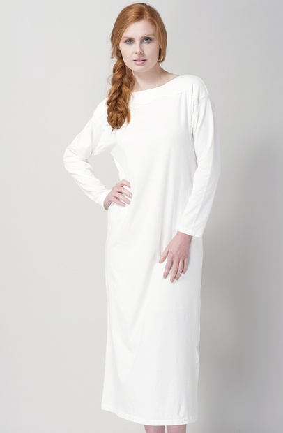 Long Warm White Cotton Jersey Nightdress