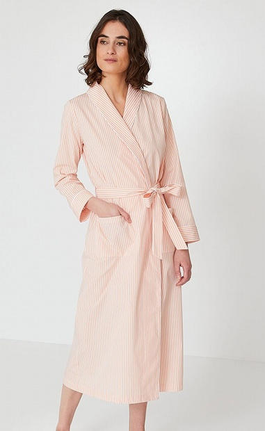 Long Apricot and White striped Cotton Poplin Robe