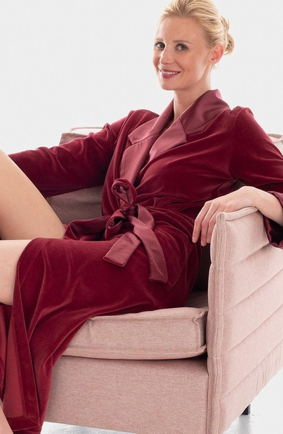 Garnet Red Soft Cotton Mix Velour Robe with Satin Detail