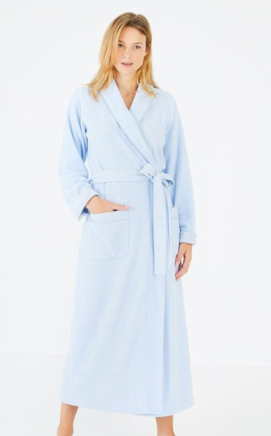 Long Pale Blue Wrap Around Warm & Cosy Robe